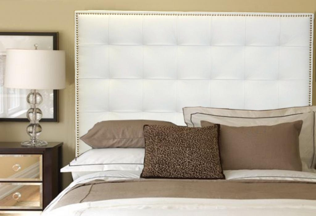 Queen Size White Genuine Leather Buttonless Tufted Headboard