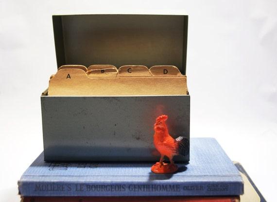 Green Metal Recipe Box - Vintage J Chen and Co.  Old box nice patina.