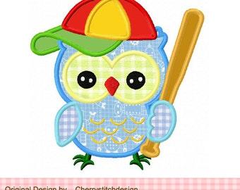 "Baseball owl Sports owl Machine Embroidery Applique -4x4 5x5 6x6"""