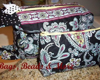 Black Quilted Toiletry Bags, Cosmetic Travel Bags
