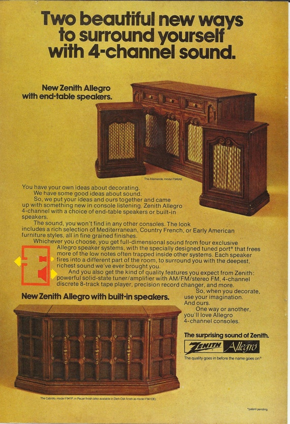 Zenith Allegro Console Stereo Original 1974 Vintage Print Ad Color Photo Built-In End Table Speakers AM FM Radio Record Player 8-Track Tape
