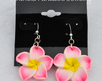 Hawaiian Jewelry - Polymer Clay Plumeria 25mm Flower Dangle Earrings - Bold Pink with White Edges