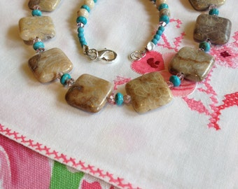 Lovely Fossil Stone, Turquoise, and Crystal Necklace