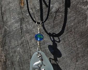 Seafoam Seaglass Necklace, with Kangaroo and Joey Charm