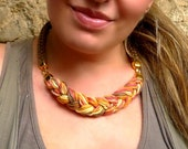 rope and braid necklace - statement necklace in earth tones - silver or gold plated clasps-customizable necklace