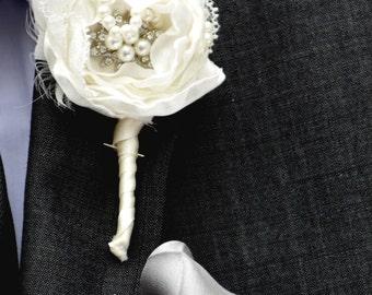 Shabby Chic Buttonhole Groom Boutonniere Groom Wedding