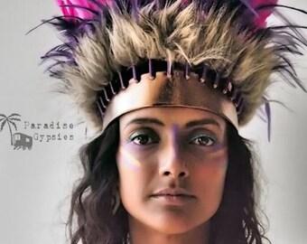 Pink & Purple Feather Crown Headdress Gold Metallic Leather Headband Headpiece by Paradise Gypsies