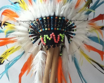 Neon Rainbow Feather Headdress Turquoise Orange Yellow Feather Neon Crazy Bead Front Black Leather by Paradise Gypsies