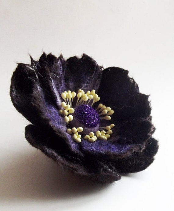 "Felted Flower Brooch,Wool Felt Jewelry, Purple Flower, ""A little bit different poppy"""