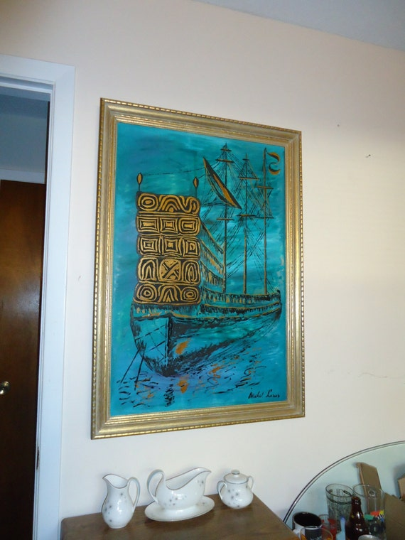 Mid Century Modern Ship Painting Vintage Expressionist Nautical Ocean Vintage Retro Kitsch