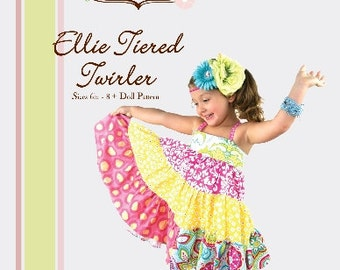 Pattern - Ellie Tiered Twirler Dress - Paper Sewing Pattern by Little Lizard King