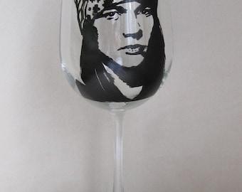 Hand Painted Wine Glass - AXL Rose, Gun N' Roses Band