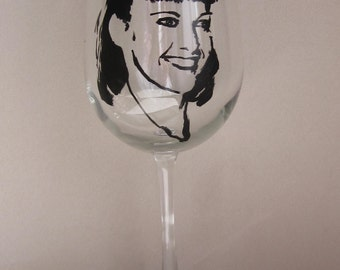 Hand Painted Wine Glass - Olivia Newton John, Grease Movie
