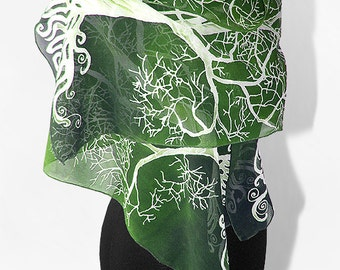 Long silk scarves White Tree in Green scarf hand painted hand made scarf LOTR - green white - tree scarf - silk scarves - lotr scarf