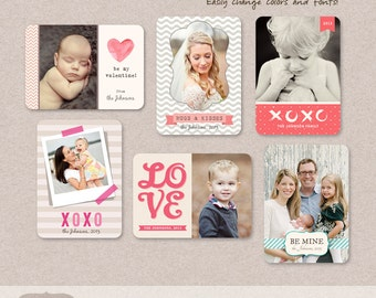 Valentine Wallet Templates for Photographers PSD Digital chevron heart love
