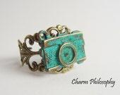 Camera Ring - Antique Bronze Filigree Adjustable Ring - Verdigris Patina Camera