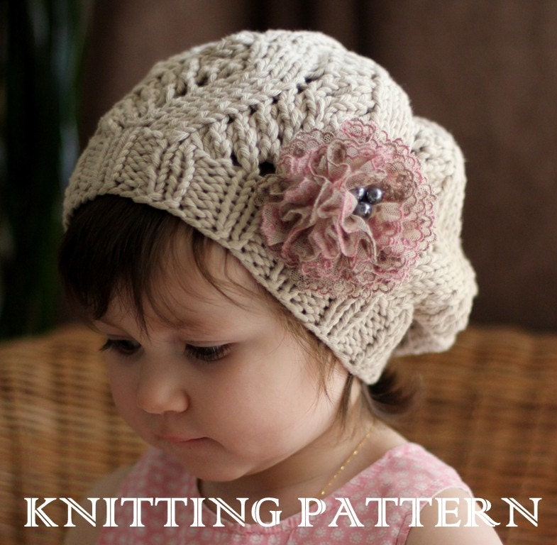 Knitting Pattern For Childs Beanie Hat : AMOUR Slouchy Hat Kniting Pattern Toddler Child Adult