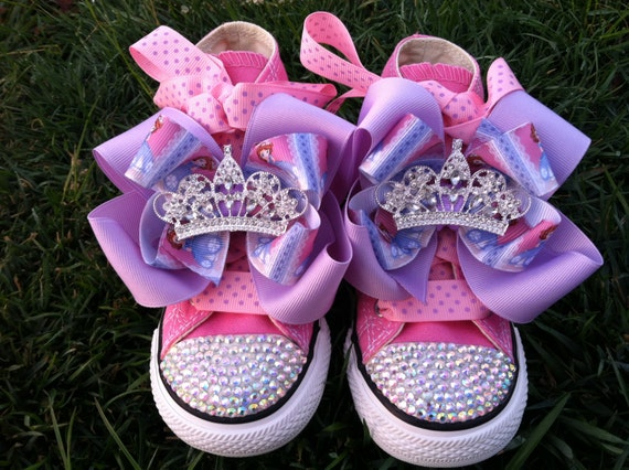 10% OFF Princess Sofia Shoes - Sofia the First - Sofia Party - Costume - Swarovski Crystals - Pink Converse - Infant/Toddler/Youth
