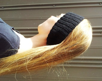 Womens ear warmer - black headband -  women's hairband - gift for her - black winter head band