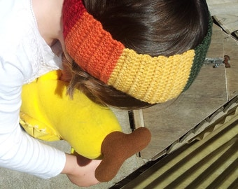 Childs headband - girl's hairband - childrens rainbow ear warmer - girl's crochet handmade