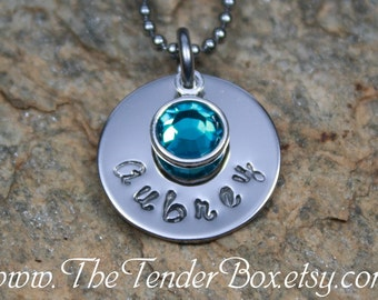 personalized birthstone necklace handstamped pendant necklace name necklace