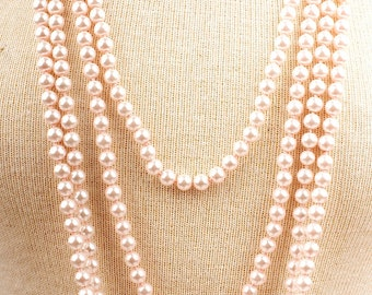 "30"" 8mm Bead Glass Pearl Necklace in Pink, White or Black- Great Gatsby 1920s Flapper Pearl Necklace"