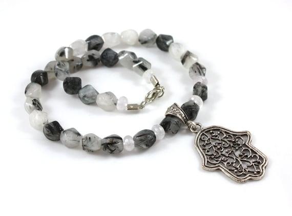 ON SALE - Hamsa Necklace - Hand of Fatima - Genuine Rutil Quartz and Crystal Aventurin - Ready to Ship