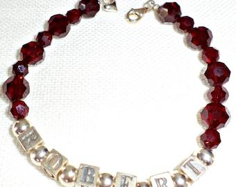 Mothers Bracelet with Birthstone, Personalized Baby Name Bracelet