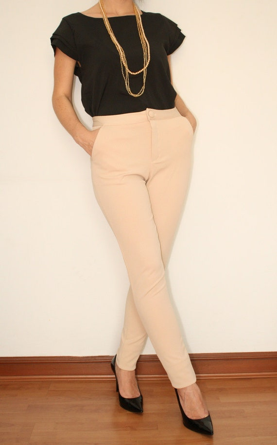 High Waist Skinny Pants in Beige for Women Office by ...
