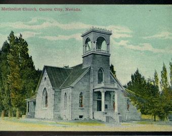 Carson City Nevada Methodist Church Unused Antique Postcard 1905 to 1907