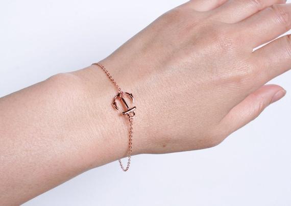 items similar to rose gold anchor bracelet rose gold. Black Bedroom Furniture Sets. Home Design Ideas
