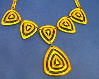 Gold Necklace with Unique Triangle Design