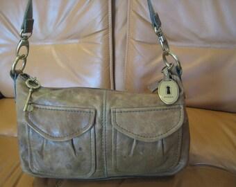 Genuine vintage FOSSIL green leather shoulder bag distressed