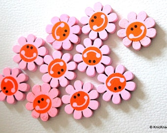 10 x Pink Smiling Sunflower Wood Beads 23mm