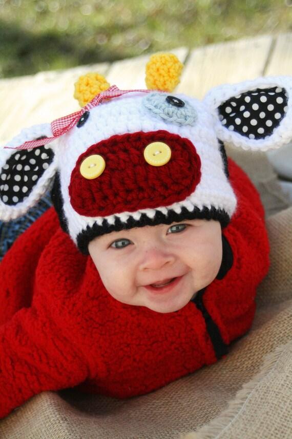 Crochet Pattern Cow Hat : Moo Cow Crochet Hat PDF Pattern by ScrapmadeCreations on Etsy