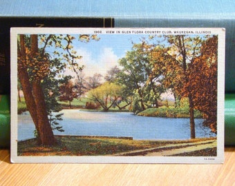 Vintage Postcard, Waukegan, Illinois, Country Club 1940s Linen Paper Ephemera