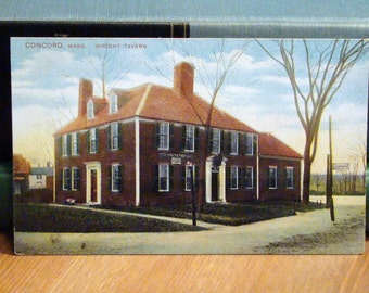 Vintage Postcard, Wright Tavern, Concord, Massachusetts, 1910s Paper Ephemera