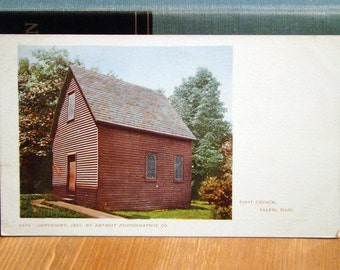 Antique Postcard, First Church, Salem, Massachusetts, 1901 Private Mailing Card Vintage Paper Ephemera