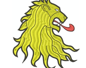 Machine Embroidery Design Instant Download - Heraldic Lion's Head Erased Sinister Game of Thrones Lannister Sigil