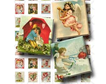 Vintage Valentine - Digital Collage Sheet   - .75 x .83 Scrabble Size - INSTANT DOWNLOAD