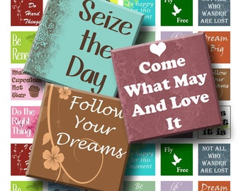 Words of Wisdom - Digital Collage Sheet  - 1 inch (1 x 1)  - INSTANT DOWNLOAD
