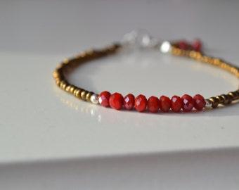 Tiny bronze bracelet, Friendship bracelet, layering bracelet, karma bracelet -Czech brun Stones