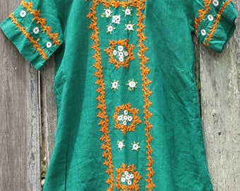 Sale** Kids Vintage Green Linen Hand Embroidered Short Sleeved Tunic