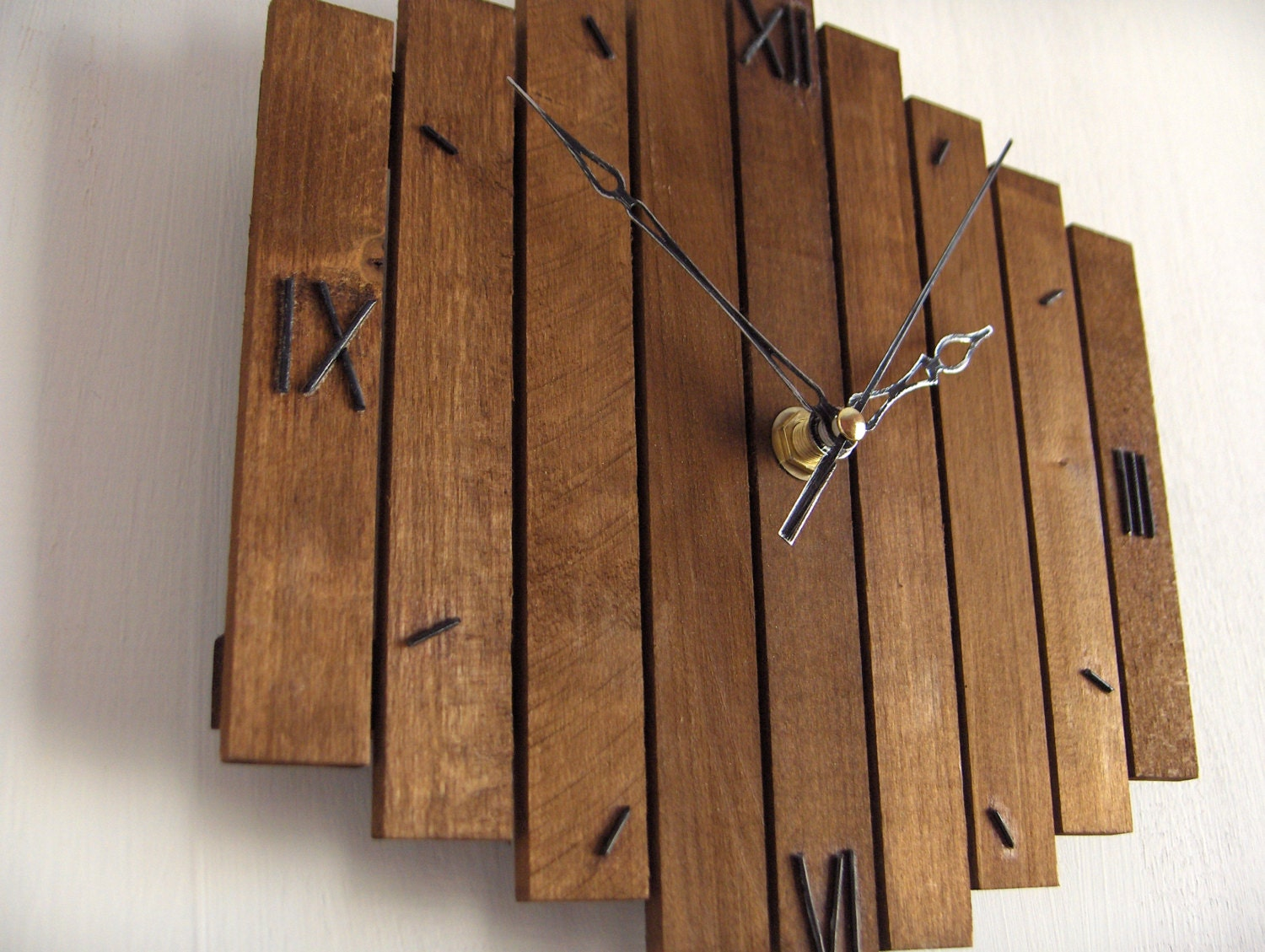 Wall Decor Made From Wood : Wooden wall clock roman decor hanging old