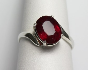 Genuine Ruby Sterling Silver Ring / Natural Ruby Ring