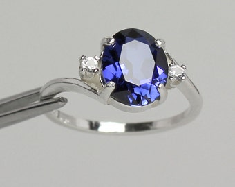 Blue Sapphire Sterling Silver Ring with Diamonds / Sapphire Silver Ring
