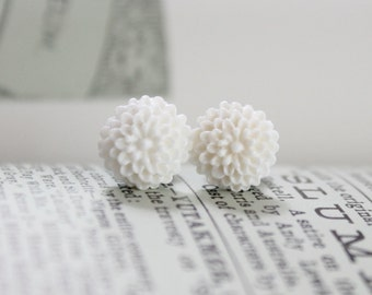 4g 2g 0g White Peony Flower Plugs Vintage Inspired Gauges in Size 4 2 or 0