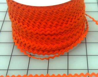 Orange Rick Rack, BY the YARD, Orange, 1/4 Inch Wide, Costume Trim, Children's Clothing, Craft and Home Project Trim, Pretty & Bright