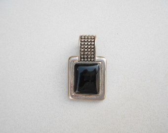 Vintage pendant silver and black acrylic focal Industrial Modernist 1970s jewelry