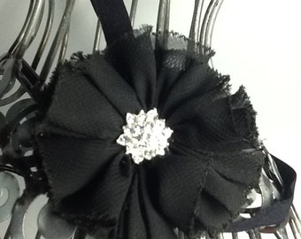 Black headband: Black shabby chic flower with super blingy center on a black soft headband. Baby headband, girls headband, adult headband